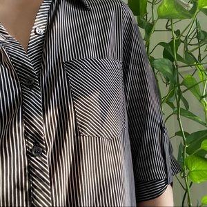 Vintage: Black & White Striped Button Down Blouse